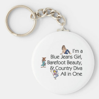 TEE Blue Jeans Girl Basic Round Button Key Ring