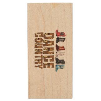 TEE Country Line Dance Wood USB Flash Drive