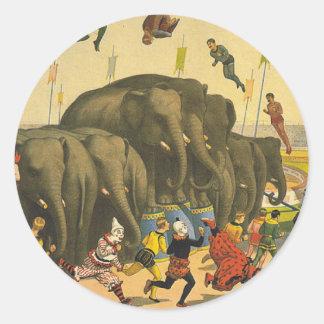 TEE Elephant Acrobatics Classic Round Sticker