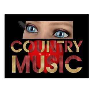 TEE I Love Country Music Post Card