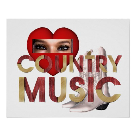 TEE I Love Country Music Poster