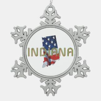 TEE Indiana Patriot Snowflake Pewter Christmas Ornament