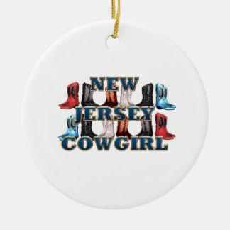 TEE New Jersey Cowgirl Round Ceramic Decoration