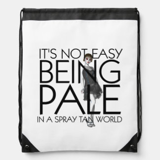 TEE Not Easy Being Pale Drawstring Bags