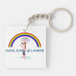 TEE Rain Go Away Double-Sided Square Acrylic Key Ring