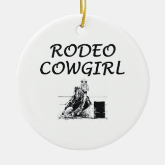 TEE Rodeo Cowgirl Round Ceramic Decoration