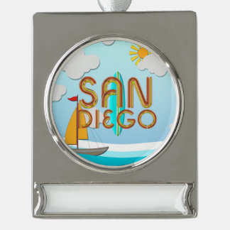 TEE San Diego Silver Plated Banner Ornament