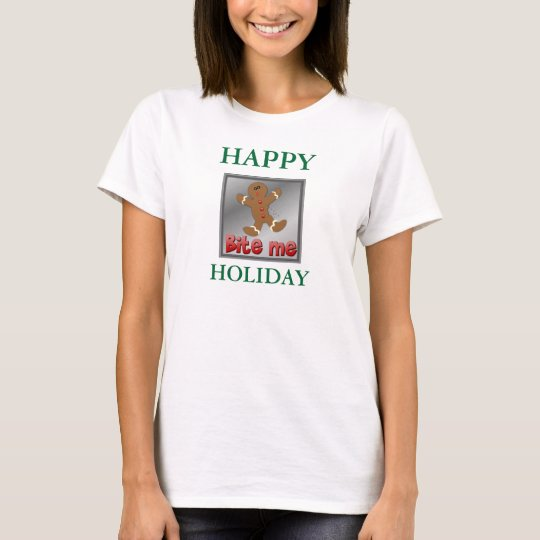 TEE SHIRTGINGERBREAD WOMENS RED WHITE AND GREE