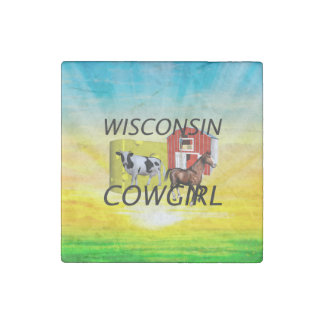 TEE Wisconsin Cowgirl Stone Magnet