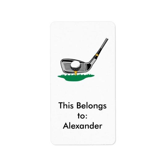 teeing off golf club design address label