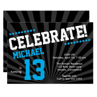 Teen Boy Birthday Invitation-Any Year, Blue Card