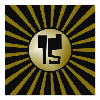 Teen Boys Gold and Black Birthday Party Card 13 Cm X 13 Cm Square Invitation Card