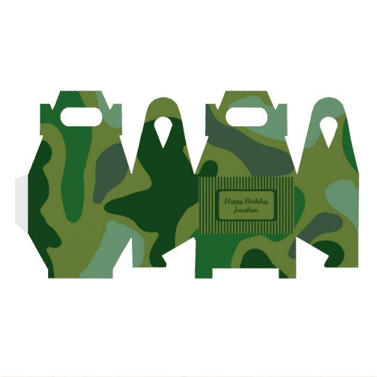Teen Boys Green Camo Party Gift Box Favour Boxes