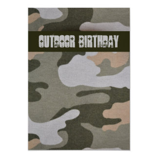 Teen Boys Outdoor Camo Birthday Party 13 Cm X 18 Cm Invitation Card