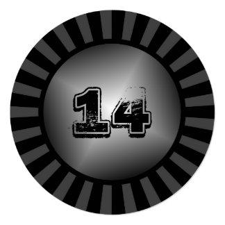 "Teen Boy's Round Black Custom Party Invitation 5.25"" Square Invitation Card"