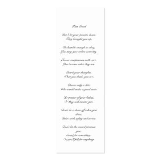 Teen Creed bookmark Business Cards