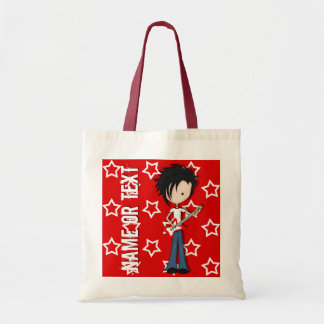 Teen Emo Boy Rock Guitarist with Black Hair Budget Tote Bag