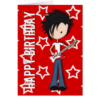 Teen Emo Boy Rock Guitarist with Black Hair Greeting Card