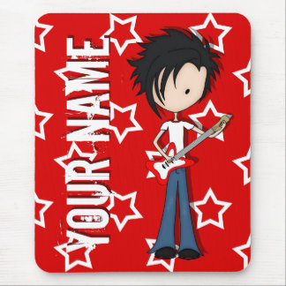 Teen Emo Boy Rock Guitarist with Black Hair Mouse Pad
