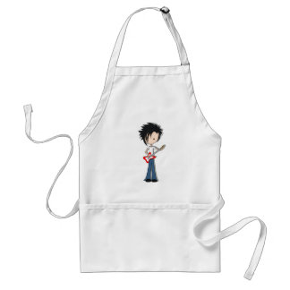 Teen Emo Boy Rock Guitarist with Black Hair Standard Apron