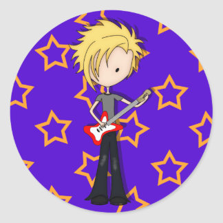 Teen Emo Rock Guitarist Musician with Blonde Hair Classic Round Sticker