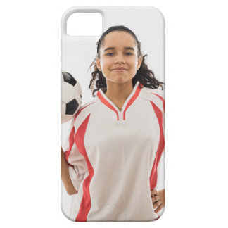 Teen girl holding soccer ball in hand, portrait iPhone 5 cases