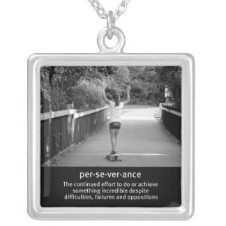 Teen Girl Longboarding Silver Plated Necklace