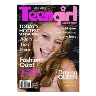 Teen Girl Personalized Magazine Cover Card