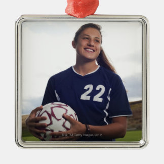 teen girl soccer player holding soccer ball christmas ornament
