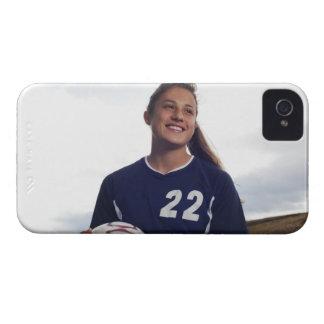 teen girl soccer player holding soccer ball iPhone 4 case