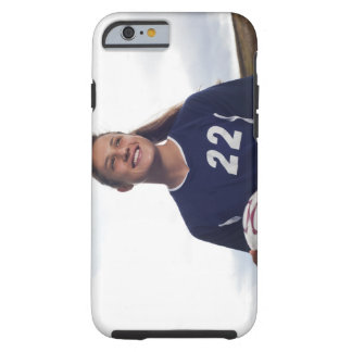 teen girl soccer player holding soccer ball tough iPhone 6 case