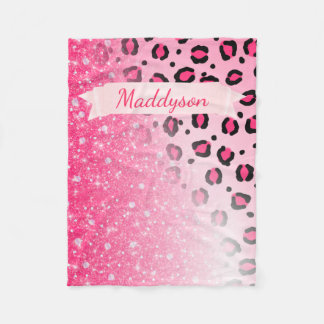 Teen Girls Personalized Sparkly Leopard Print Fleece Blanket