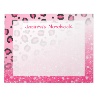 Teen Girls Pink Leopard Print Faux Sparkly Glitter Notepad