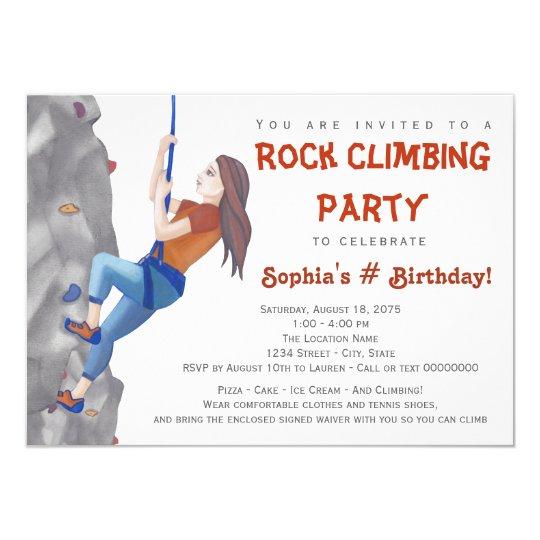 Teen Girls Rock Climbing Birthday Party Invitation