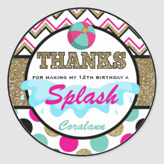Teen Pool Party Thank You  Favor Tag  Personalized Round Sticker