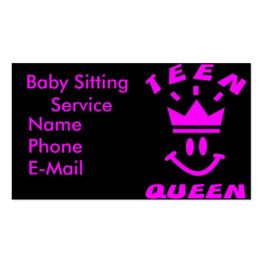 Teen Queen Babysitting Business Cards