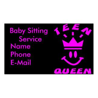 Teen Queen Babysitting Business Cards