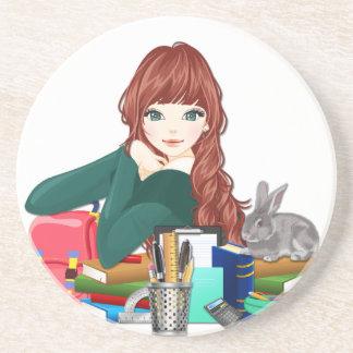 Teen Student Schoolgirl supplies back to school Coaster