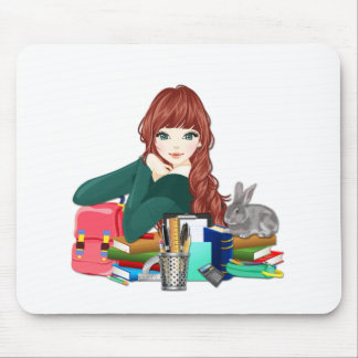 Teen Student Schoolgirl supplies back to school Mouse Mat