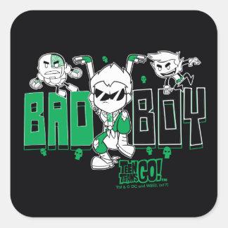 "Teen Titans Go! | ""Bad Boy"" Robin, Cyborg, & BB Square Sticker"