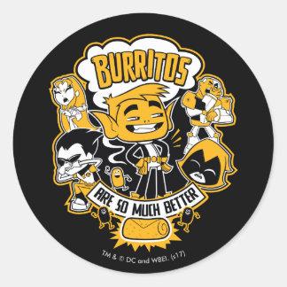 "Teen Titans Go! | Beast Boy ""Burritos Are Better"" Classic Round Sticker"