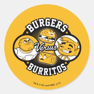Teen Titans Go! | Burgers Versus Burritos Classic Round Sticker