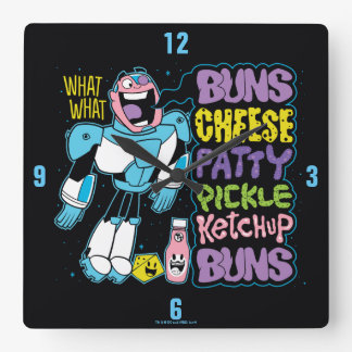 Teen Titans Go! | Cyborg Burger Rap Square Wall Clock