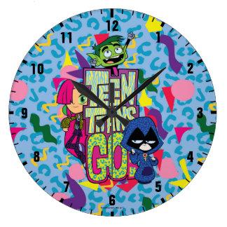 "Teen Titans Go!   ""Girls Girls"" Animal Print Logo Large Clock"
