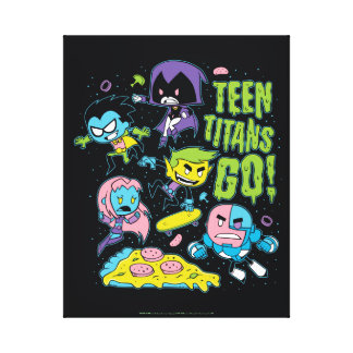 Teen Titans Go! | Gnarly 90's Pizza Graphic Canvas Print