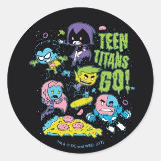Teen Titans Go! | Gnarly 90's Pizza Graphic Classic Round Sticker