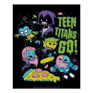Teen Titans Go! | Gnarly 90's Pizza Graphic Poster