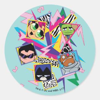 Teen Titans Go! | Retro 90's Group Collage Classic Round Sticker