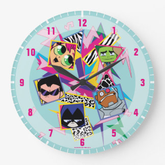 Teen Titans Go! | Retro 90's Group Collage Large Clock