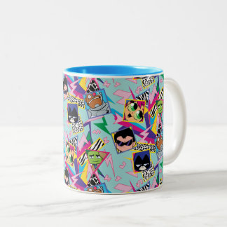 Teen Titans Go! | Retro 90's Group Collage Two-Tone Coffee Mug